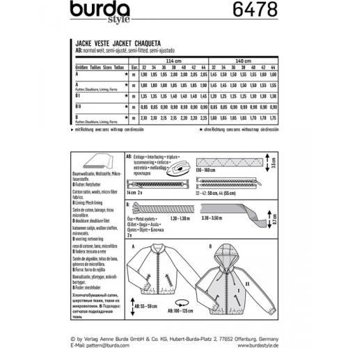 Patron Burda 6478 : Veste Taille : 32-44