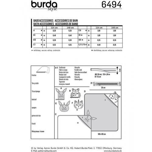 Patron Burda 6494 : Accessoires de bain Taille : 90 x 100 cm