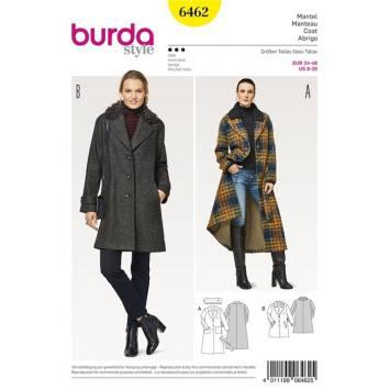 Patron Burda 6462 : Manteau Taille : 34-46