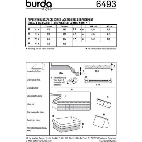 Patron Burda 6493 : Accessoires de rangement
