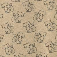 Tissu molleton French Terry chiné beige imprimé renards