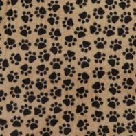 Tissu polaire marron clair patte de chien noire