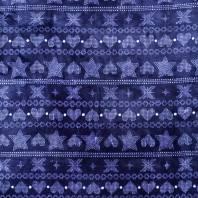 Tissu polaire bleu motif géométrique blanc