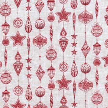 Toile polycoton imprimée boule de Noël grande largeur