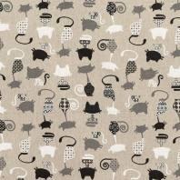 Toile coton aspect lin imprimé chat