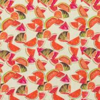 Toile coton aspect lin imprimé pastèque