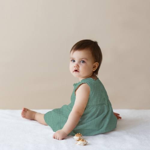 Robe bébé double gaze unie vert amande
