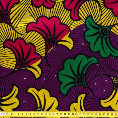 Wax - Tissu africain violet et jaune 72