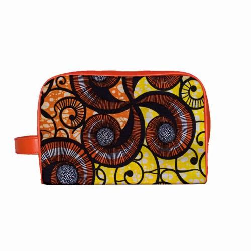 Trousse Wax - Tissu africain jaune et orange 86