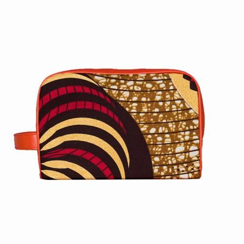 Trousse Wax - Tissu africain motif mandala pailleté 78