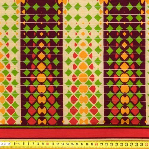 Wax - Tissu africain orange imprimé bandes géométriques 79