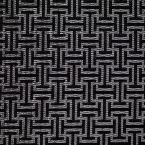 Jacquard argenté et noir à motif labyrinthe