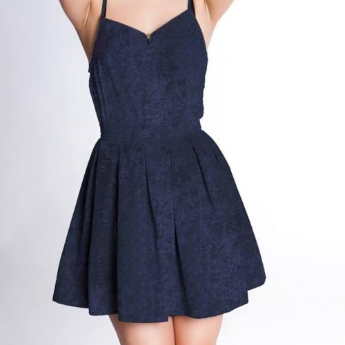 Robe panne de velours bleu marine
