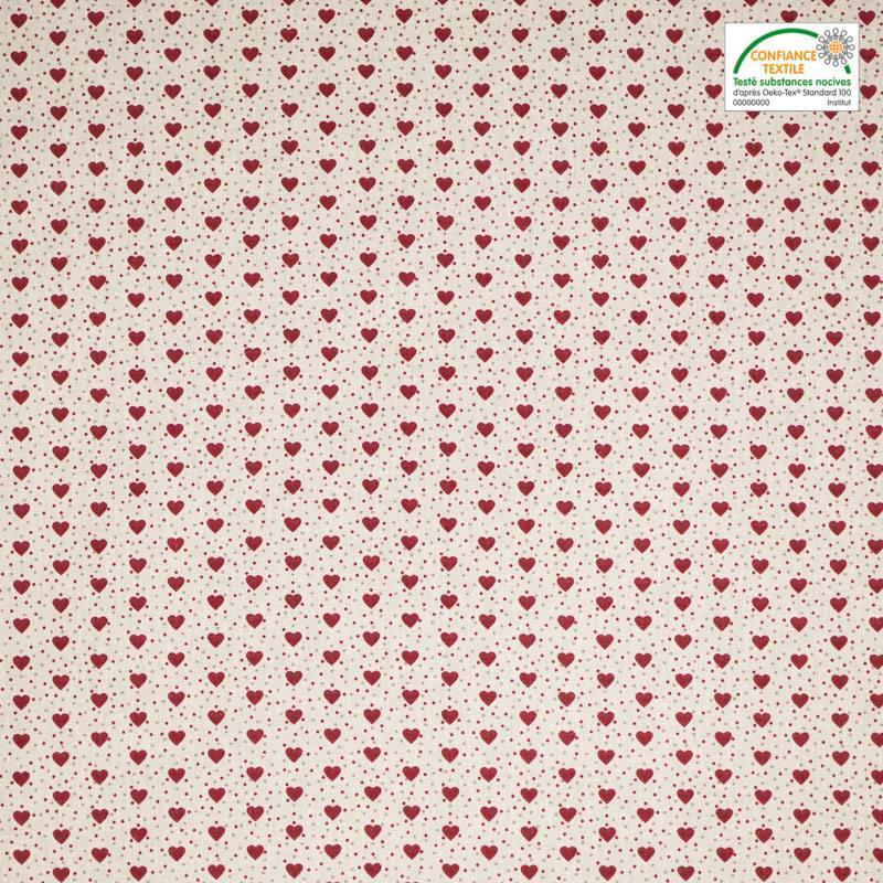 Coton ivoire imprimé petit coeur rouge