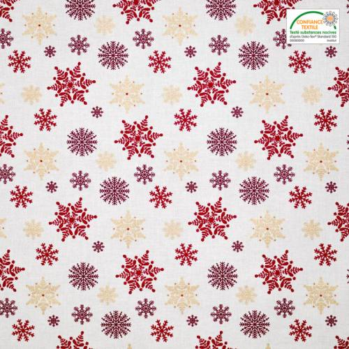 Coton motif flocon rouge et or