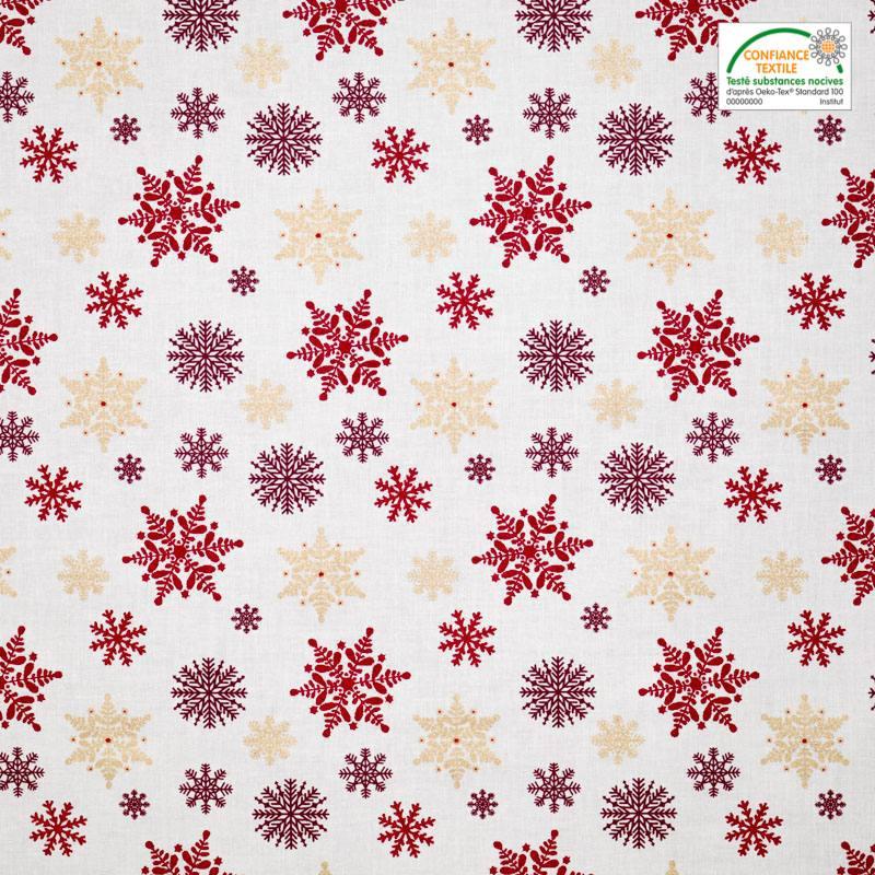 coton no l motif flocon rouge et or pas cher tissus price. Black Bedroom Furniture Sets. Home Design Ideas