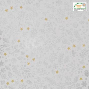 Coton Noël motif houx, feuille et étoile argent