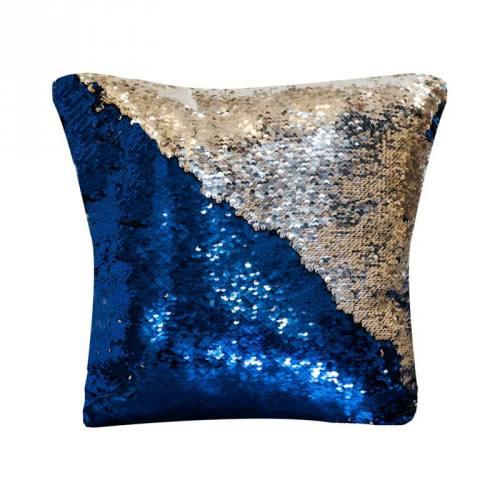 Housse coussin sequins réversibles bleu roi/argent 50x50 cm