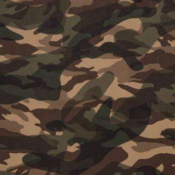 Simili cuir imprimé camouflage beige