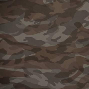Simili cuir imprimé camouflage marron