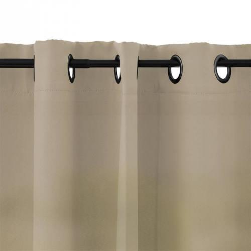 Rideau à oeillets microfibre beige 135x250 cm
