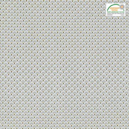 Coton imprimé éventails gris et ocres
