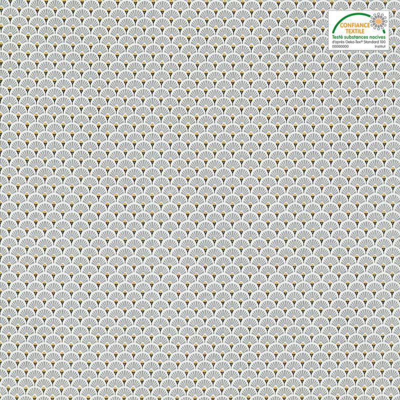 Coton imprimé éventails gris et ocre