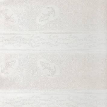 Tissu jacquard damassé blanc motif ancre marine 153 cm