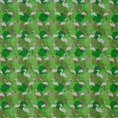 Coton vert imprimé flamant rose