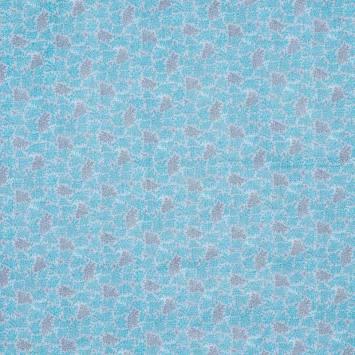 Coton bleu clair imprimé feuillage