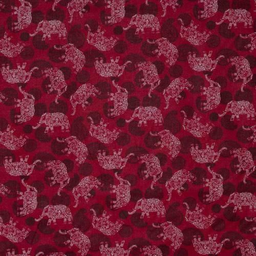 Coton rouge imprimé cachemire et éléphant