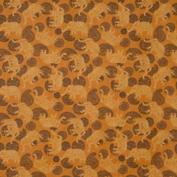 Coton orange imprimé cachemire et éléphant