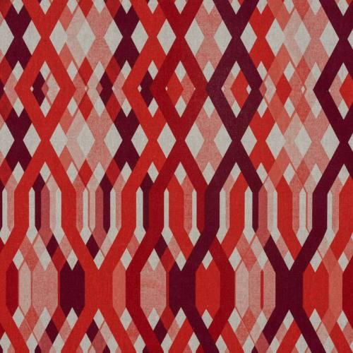 Toile polycoton imprimé géométrique rouge
