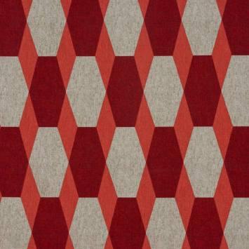 Toile polycoton imprimé hexagone rouge