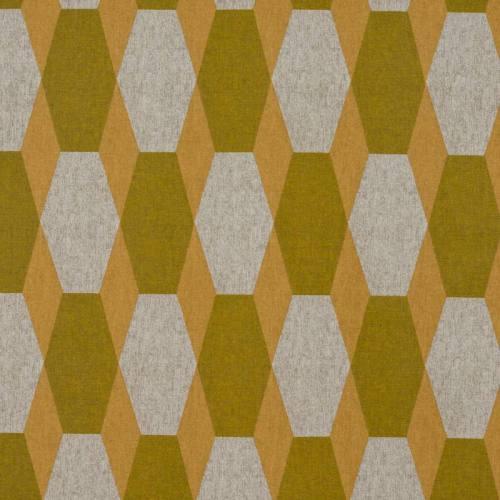 Toile polycoton imprimé hexagone jaune