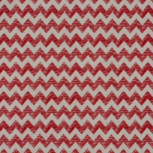 Toile polycoton imprimé zig zag rouge