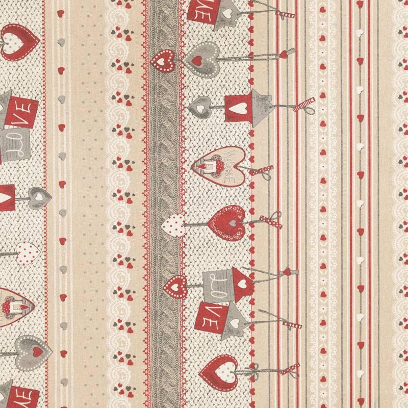 coton enduit beige coeurs rouges pas cher tissus price. Black Bedroom Furniture Sets. Home Design Ideas