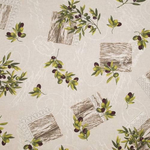 Coton enduit beige imprimé olives