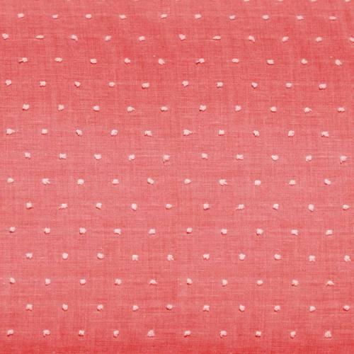 Voile de coton plumetis rose pois blanc