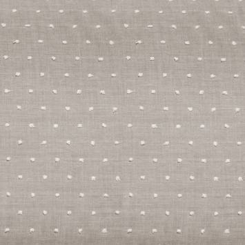 Voile de coton plumetis gris perle pois blanc