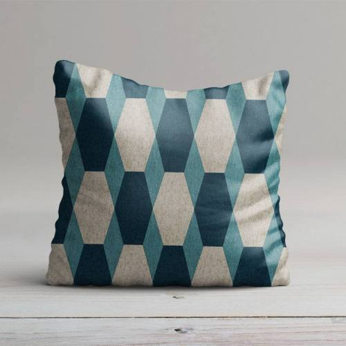 Toile polycoton imprimé hexagone bleu