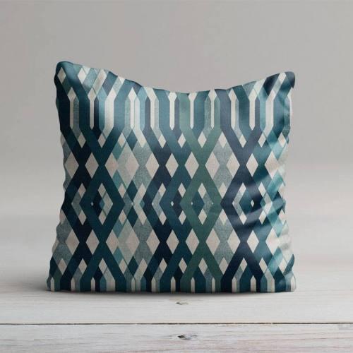 Toile polycoton imprimé géométrique bleu