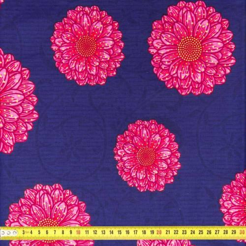 Wax - Tissu africain bleu imprimé fleurs roses 95