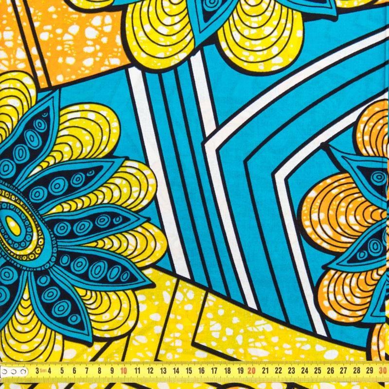 tissu africain bleu jaune