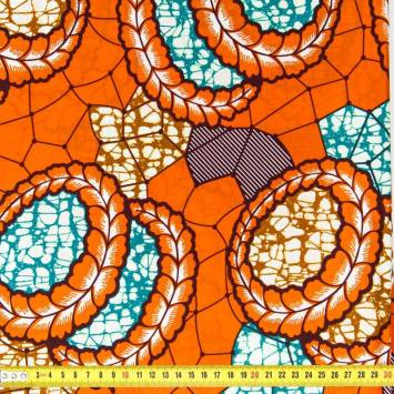 Wax - Tissu africain orange, vert et ocre 94