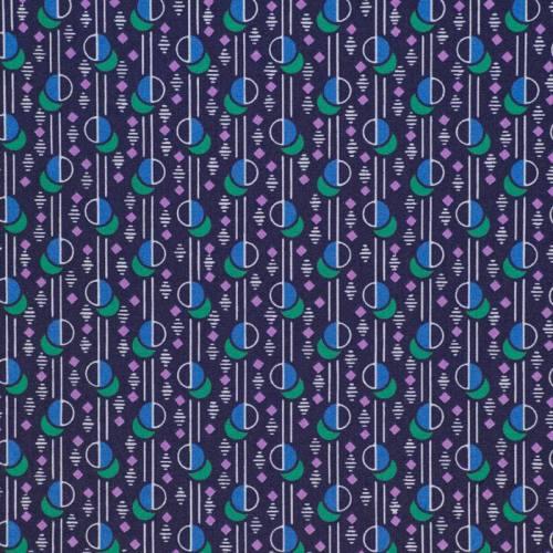 Toile polyester bleu foncé motif géométrique
