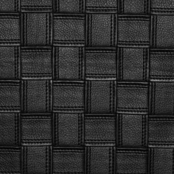 Simili cuir noir motifs carrés