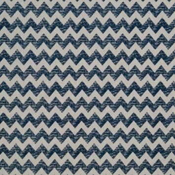 Toile polycoton imprimé zig zag bleu