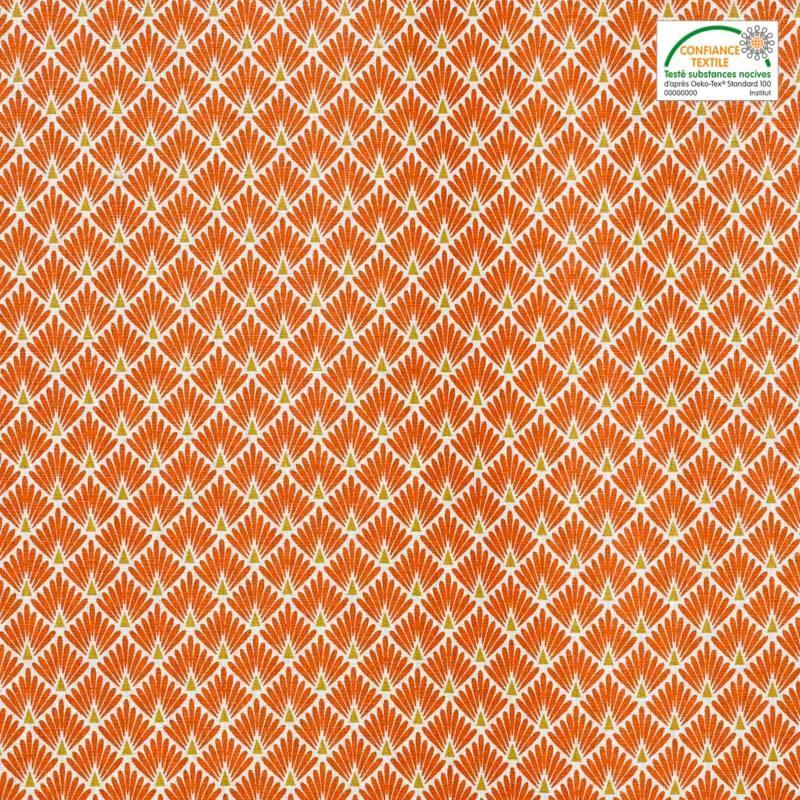 Coton imprimé écailles orange et ocres