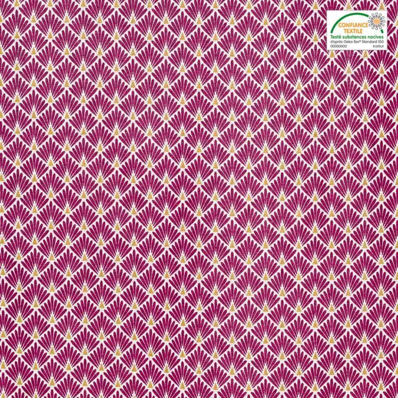 Coton imprimé écailles fuchsia et ocres